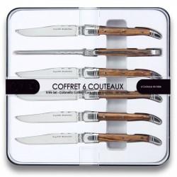 Coffret 6 couteaux à STEAK BOIS